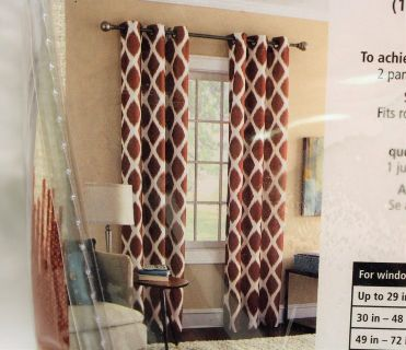 "NEW Mainstays Geometric Textured Grommet Top Red Brick 40""x84"" Panel Drape Curtain"