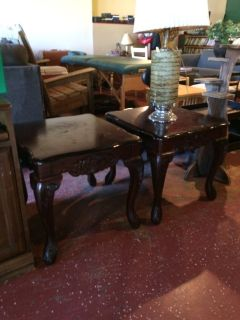 (2) Matching Solid Wood End Tables
