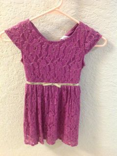 Cap sleeve pink with gold lace dress