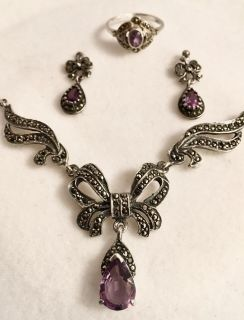 Stunning vintage authentic natural amethyst/.925 Sterling silver and marcasite necklace, ring and earring set! Would make a gorgeous Gift!