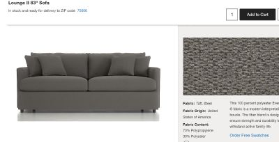 NEW Crate & Barrel Lounge II sofa
