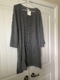 Grey tunic with lace. New with tags.