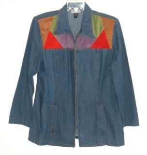 Womens Large Vintage Michael Mims Cathy Cole Faux Suede Color Block Zip Denim Jean Jacket