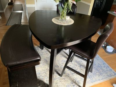 High Top kitchen table with 4 chairs and bench