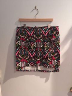Print Skirt with Zippers