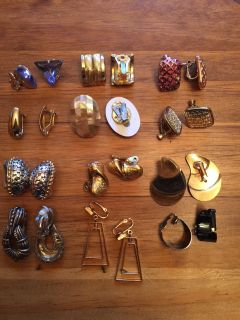 Lot of 12 Pairs of Clip Earrings