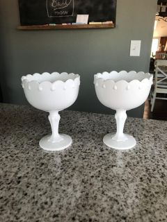 Pair if 7 milk glass candy dishes