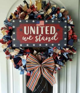 United we stand RAG WREATH Patriotic unique! 16
