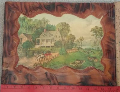 Vintage American Homestead Summer on Wood Plaque