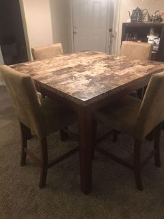 Stone Kitchen/Dining Table with 4 Chairs