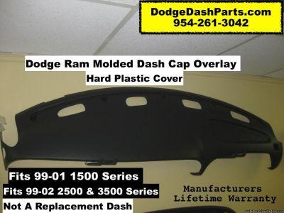 Plastic Dash Cap Overlay Fits Dodge Ram Hard Plastic Cover / Slate Black