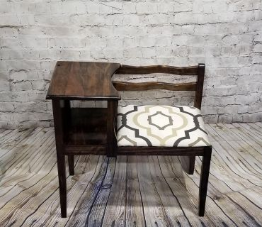 Refinished and Reupholstered Antique Entry way Foyer Bench Gossip Telephone Bench