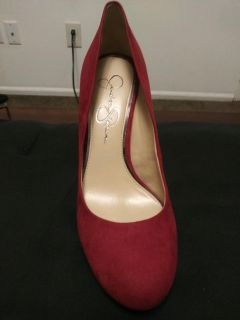 Red suade pumps