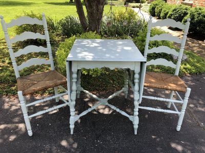Blue ladder back chairs and table set