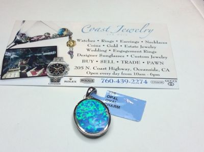 .925 SILVER OPAL OVAL CHARM PENDANT