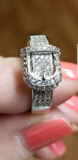 Size 10 Sterling silver 925 buckle ring with rhinestones