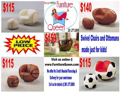 Kids Swivel SPORTS Chairs with ottoman