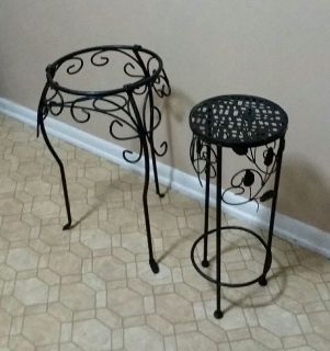 TWO/WROUGHT IRON/ PLANT STANDS.......EXCELLENT CONDITION