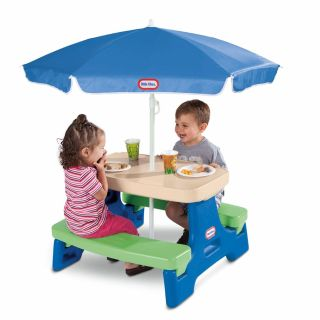 New Little Tikes Easy Store Jr. Play Table with Umbrella - Blue\Green