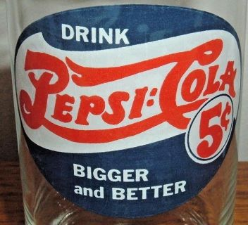 Vintage Drink Pepsi Cola Bigger and Better Collector Drinking Glass w 1906 Logo