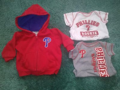 Lot of 3 Phillies Baby Clothes Zippered Sweatshirt Jacket 2 Onesies Size 3 - 6 Months