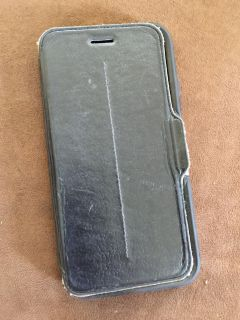 Black Leather OTTERBOX Cell Phone Case - iPhone 6 or 7