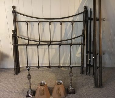 Queen size pewter-look bed frame with matching lamps