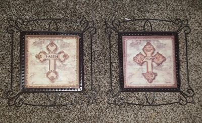 Brown and tan Metal Cross Wall pictures