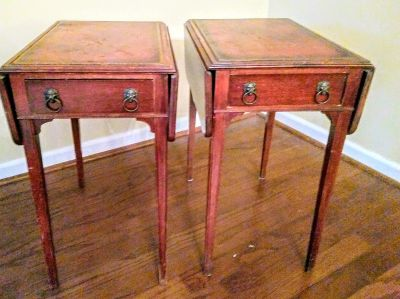 Pair of Antique side tables with sides that can be put up or down