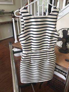 Dress Navy Blue and Cream Stripe Size 6