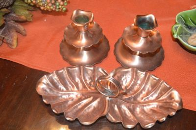 Gregorian Copper Candle Stick Holders and Leaf Dish