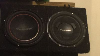 Two pioneer 12 subs and box