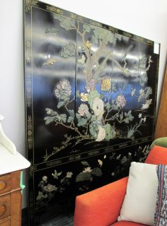 Beautiful Lacquered Room Divider with Tree & Birds