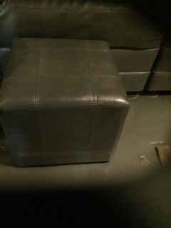 Gray Leather Ottomans