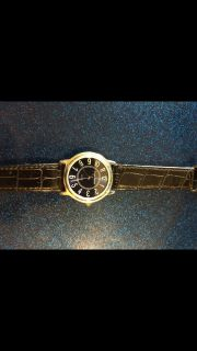 New w/o case. Sergio Valente watch with blue face and leather band. Asking $15.00. Giftable but needs a battery.