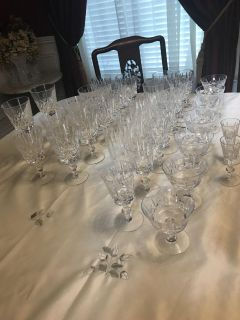 Cross and olive crystal stemware