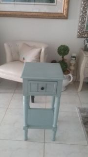 One drawer turquoise table