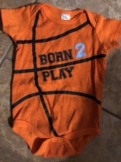 Born 2 Play Basketball Onesie Playsuit. Nice Condition. Size 6 Months