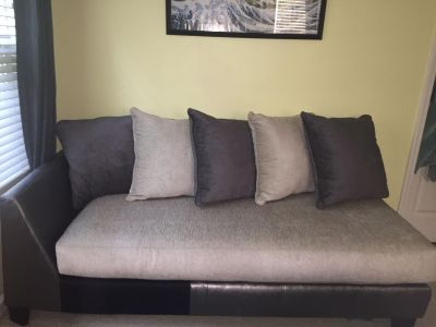 Fabric Silver/Beige Chaise