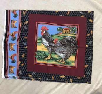 Chicken/Rooster Cotton Fabric