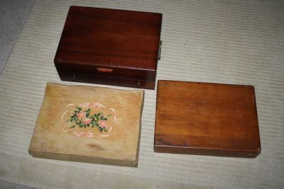 3 Wood Wooden Silverware Storage Boxes 1 with Drawer