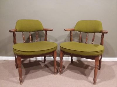 "Twin/Pair of Vintage Upholstered Side or ""Captain's"" Chairs in Rich Green"