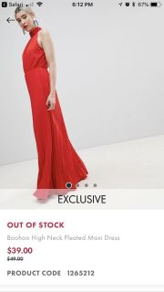 Red maxi dress boohoo high neck pleated never worn still in bag with tags
