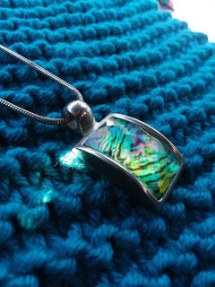 Iridescent Tiger print style pendant silver necklace