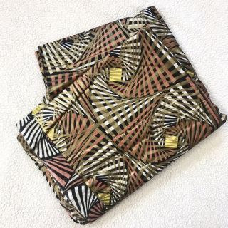 Beautiful Gold, Coral, Yellow, Black & White African Wax Fabric
