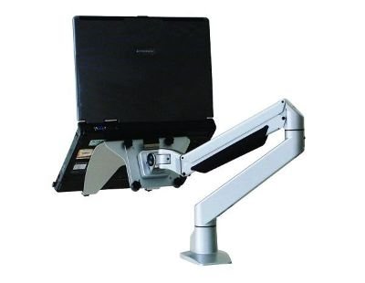 Single monitor arm with laptop holder