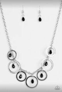 Silver Ring Necklace w Black Beads