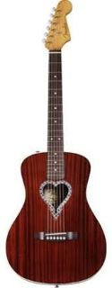 Fender Alkaline Trio Malibu Acoustic Guitar, Mahogany Top, Back and Sides, Heart Shaped Rosette ...