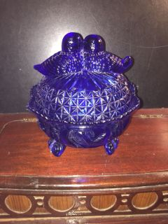 ANTIQUE ROYAL BLUE GLASS DISH