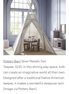 Large Pottery Barn Metallic Silver Dot Teepee tent. In Perfect condition. Sold out & purchased $225